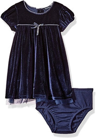 Vestido Bebê Veludo Luxo Importado Náutica 6-9 M
