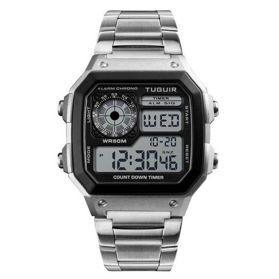 Relógio Unissex Tuguir Digital Tg1335 Prata C/ Garantia E Nf