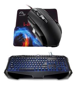 Kit Gamer Macro Multilaser Teclado Iluminado + Mouse 3200dpi