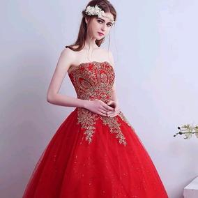 b5d13aa27 Vestido Longo De Festa Flor Vermelha Bordada - Calçados, Roupas e ...