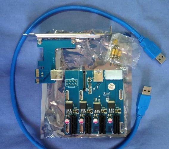 Multiplicador De Porta Pcie Riser 4 Pci- Card Para Mineração