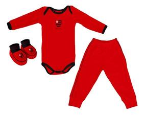 Kit Flamengo 3 Peças Body Manga Longa Torcida Baby