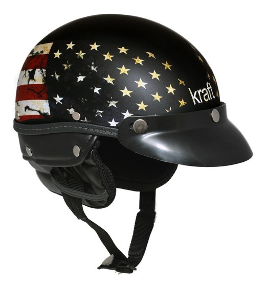 Capacete Kraft Esporte Usa Preto G - Coquinho Custom