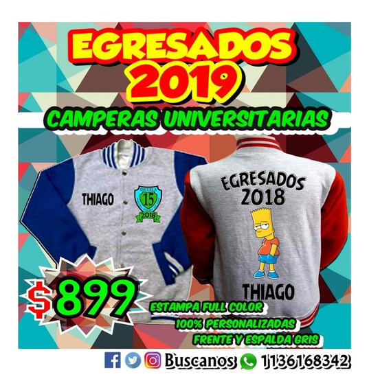 Campera Universitaria Egresados Full Color 100%personalizada