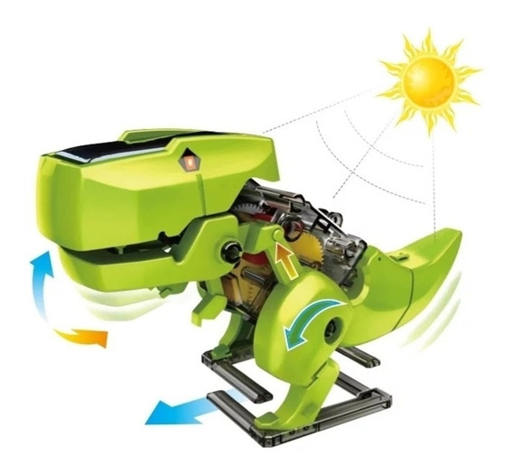 Brinquedo De Montar 3 Em 1 Kit Robo Solar Dinossauro Trator
