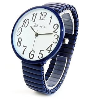 Reloj De Moda Azul Marino Super Large Face Stretch Band