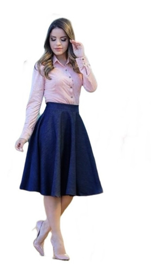 Saia Jeans Moda Evangélica Rodada Roupa Feminina Blogueira