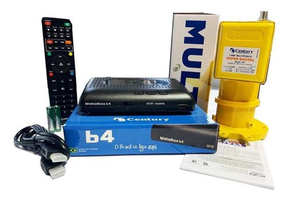 Receptor Midiabox B4 Azul Com Lnbf Multiponto Super Digital