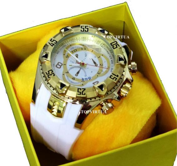 Relógio Dourado Top + Corrente Banhada Ouro + Caixa + Brinde