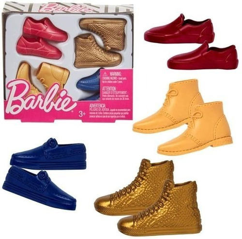 Imagem 1 de 3 de Barbie Ken Cartela Pack Com 4 Pares Sapatos Acessórios Roupa