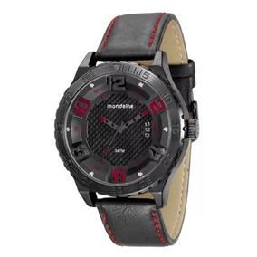 Relógio Mondaine Preto C/ Pulseira Couro Sintético Promoção