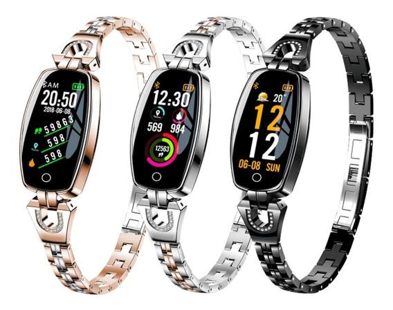 Relógio Smart Watch Feminino Social Dourado, Prata Bluetooth
