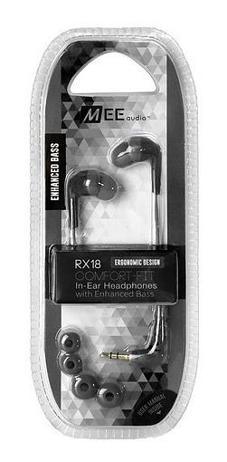 2 Fones Headphone Mee Audio In-ear Stereo Rx18 Retorno Preto