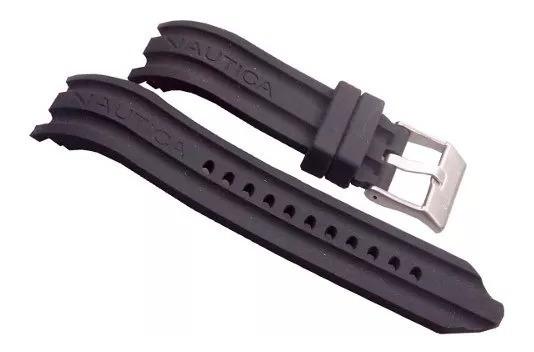 Pulseira Nautica Preta 24mm Silicone Borracha