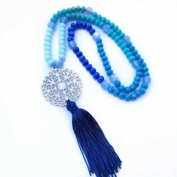 Japamala 108 Contas De Cristal Azul Mandala Hooponopono