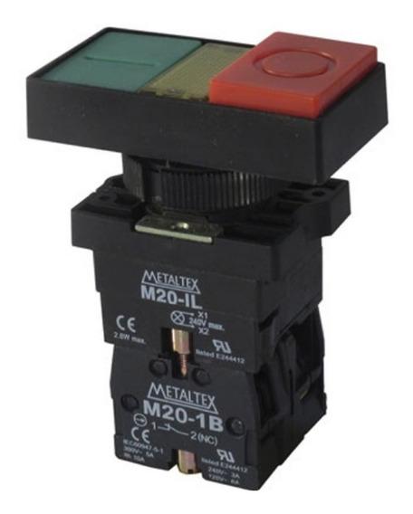 Botão Duplo 1na 1nf Iluminado Metaltex P20idl-y-1c