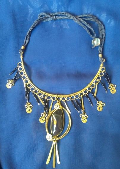 Collar De Obsidiana Arcoiris Tejida Con Alambre E Hilo