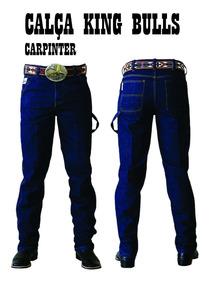 Calça Masculina Jeans King Bulls Carpinteira De Algodão