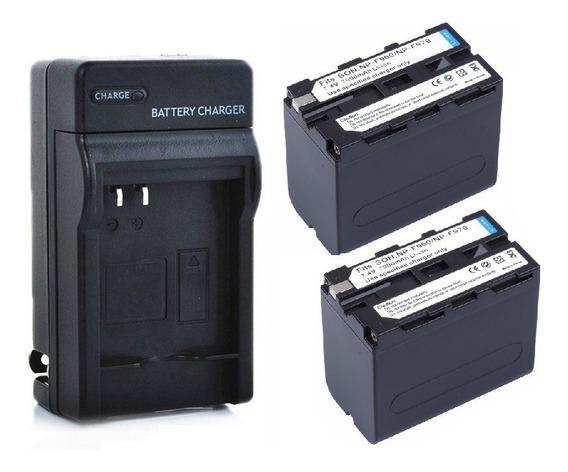 Kit 2x Bateria Np-f970 F960 + Carregador Led 6600mah Yn600