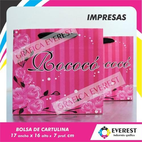 Bolsas De Cartulina 17x16x7 X 500u Impresas Offset 1 Color