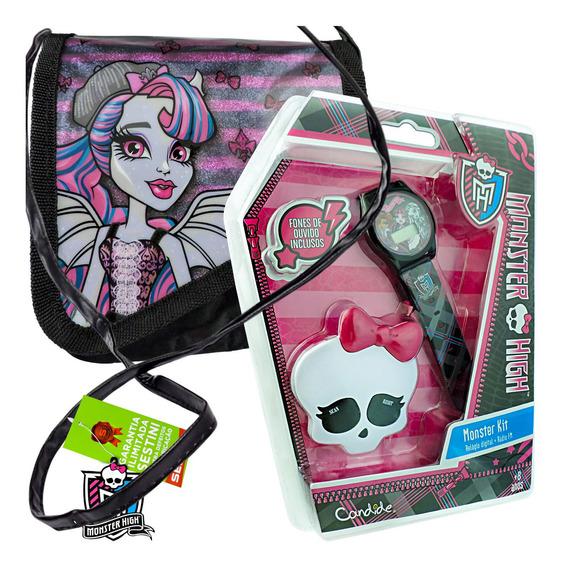 Relógio De Pulso Digital Rádio Fm Mais Bolsa Monster High