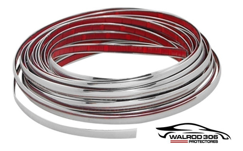 Vira 5 Mm Plateada Moldura Con Adhesivo Por Metro Walrod306