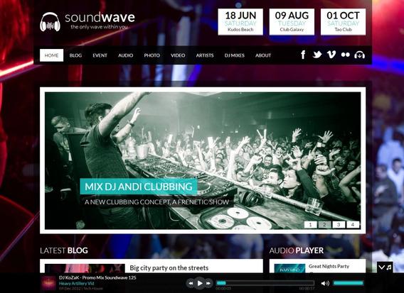 Tema Soundwave Wordpress Baladas, Eventos, Gratís Rockon