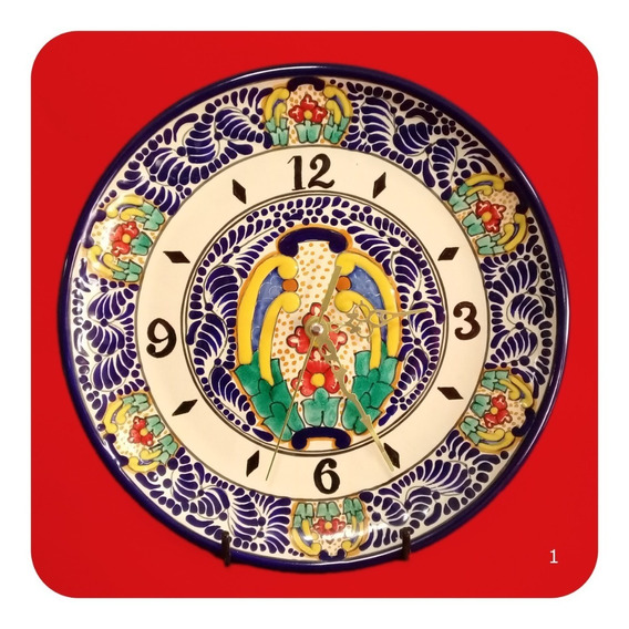 Reloj De Talavera Poblana Redondo Color Trad 30 Cm Mod 1 Rlj