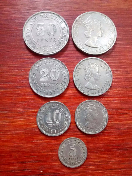 Malasia Y Borneo Británico - Set 4 Monedas Colonia Inglesa