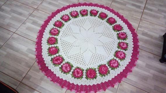 Tapete Redondo Com Flores Croche