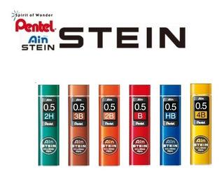 Kit 6 Tubos Grafite Pentel Ain Stein 0.5mm 4b 3b 2b B Hb 2h