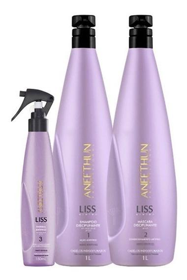 Shampoo+máscara Alinhamento Capilar Aneethun Liss 3 Produtos