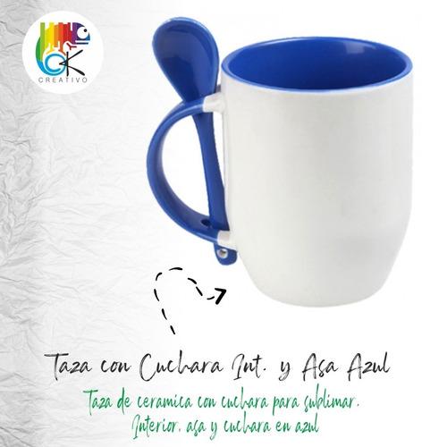Taza Con Cuchara Interior Y Asa Azul - Ok Creativo