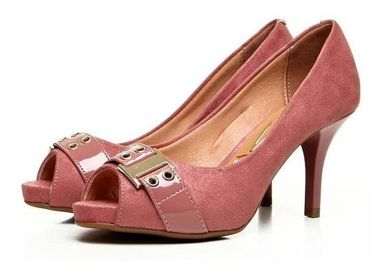 Peep Toe Feminino Rose Salmão Camurça Flex Vizzano Salto 8cm