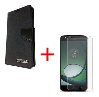 Moto Z Play Funda Flip Cover & Mica De Vidrio Protector Case