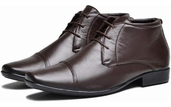 Sapato Bota Social Botina Masculino Em Couro Legítimo