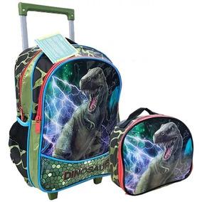 Mochila Escolar Infantil Rodinhas Dinossauros Lancheira