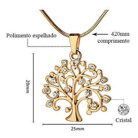 Colar Ouro Rosé 45cm + Pingente 2,5 Cristais Árvore Da Vida