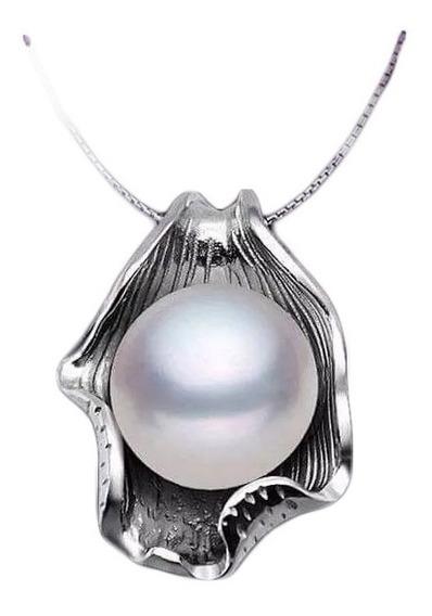 Collar Perla Natural De Agua Dulce Genuina Ostra Plata 925