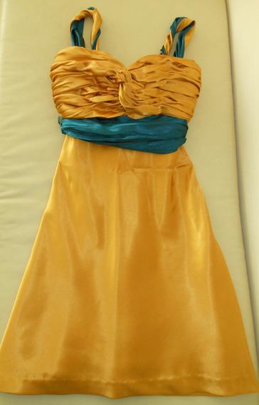 Remato Vestido Dorado Formal Usado 1 Vez Dama O Jovensita M