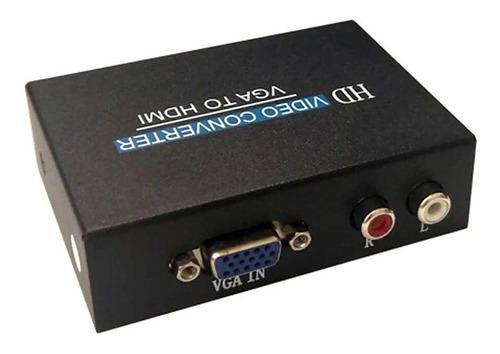 Imagen 1 de 3 de Adaptador Conversor Vga A Hdmi Metálico Energizado Con Audio