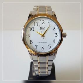 Relógio Masculino Aço Prata-dourado Fundo Branco Grande Q&q