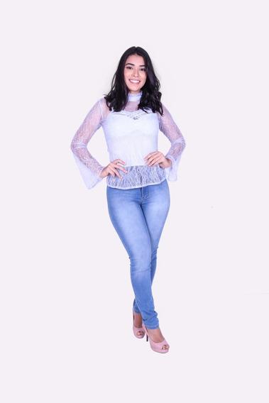 Blusa Renda Com Segunda Pele Spartacus-0691 - Asya Fashion