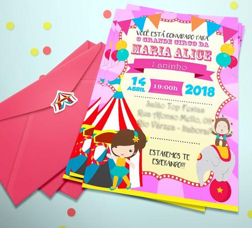 30 Convite Personalizado Aniversario Circo Menina + Env