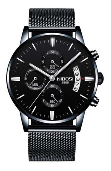 Relógio Nibosi 2309 Preto Esporte De Luxo Pulseira Fina