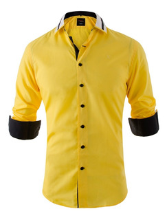 Camisas Entalladas Slim Fit Combinada Quality Import Usa