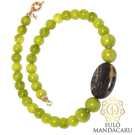 Colar Exclusivo De Pedra Jade Verde Limão Jasper Madagascar