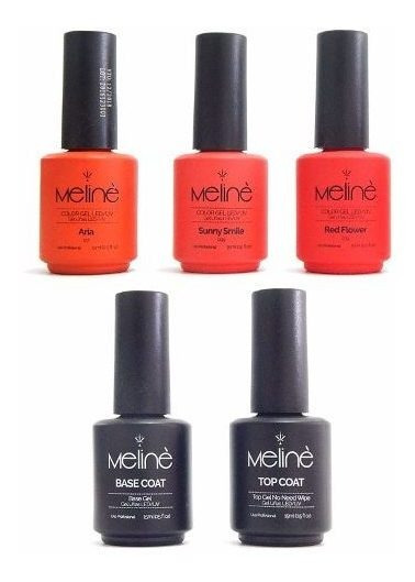 Kit X3 Esmaltes Color Meliné Gel On-off + 1 Base +1 Top Coat