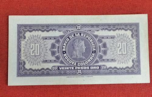 Imagen 1 de 2 de Billete Colombiano Antiguo De 20 Pesos Año 1947. Muy Bueno