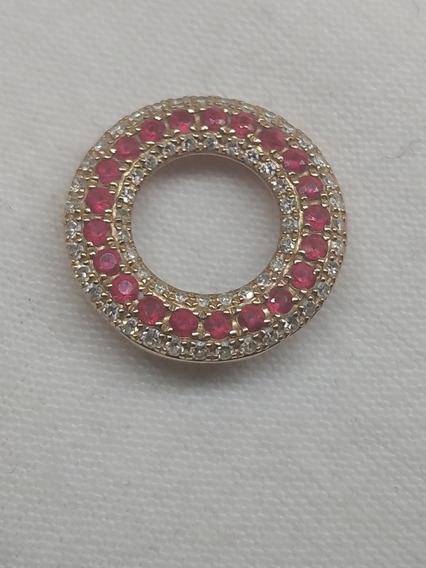 Dije Maraca Effy Oro Rosa 14k Rubíes Y Diamantes Naturales